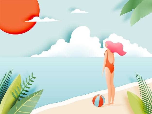 Belle fille avec belle plage