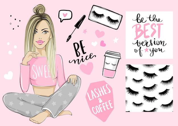 Belle fille blonde, modèle sans couture avec cils, affiche avec citation inspirante, mascara et tasse à café en papier.