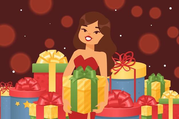 Belle fille avec boîte-cadeau festive, illustration. boîtes en papier d'emballage multicolore, avec différents arcs de dessin animé