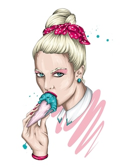 Belle fille avec une coiffure élégante et une crème glacée