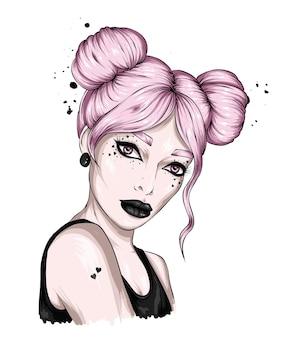 Belle fille avec une coiffure et un maquillage élégants