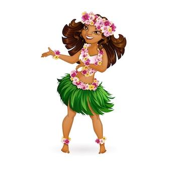 Une belle fille en costume hawaïen danse hula.