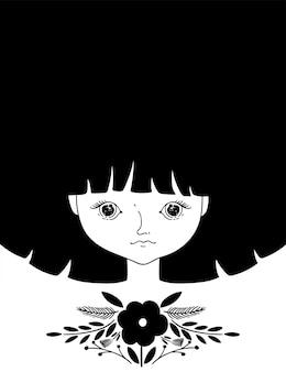 Belle fille en couleurs noir et blanc