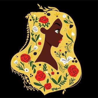 Belle fille avec des fleurs dans les cheveux. eco concept vecteur llustration