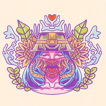 Belle fille avec illustration de masque japonais maléfique