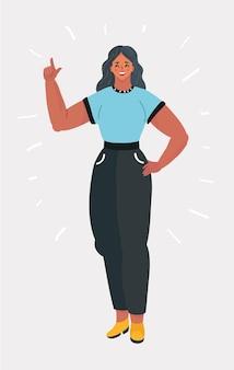 Belle fille ou jeune femme avec index. pin-up, concept d'entreprise. style comique rétro pop art. illustration vectorielle de dessin animé