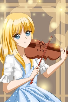 Belle fille jouant de l'illustration de dessin animé de personnage de conception de violon