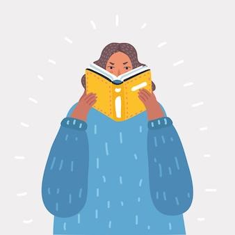Belle fille lisant un livre