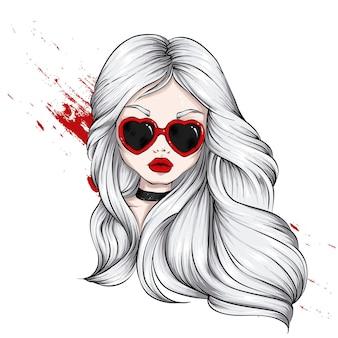 Belle fille à lunettes avec illustration de coeurs
