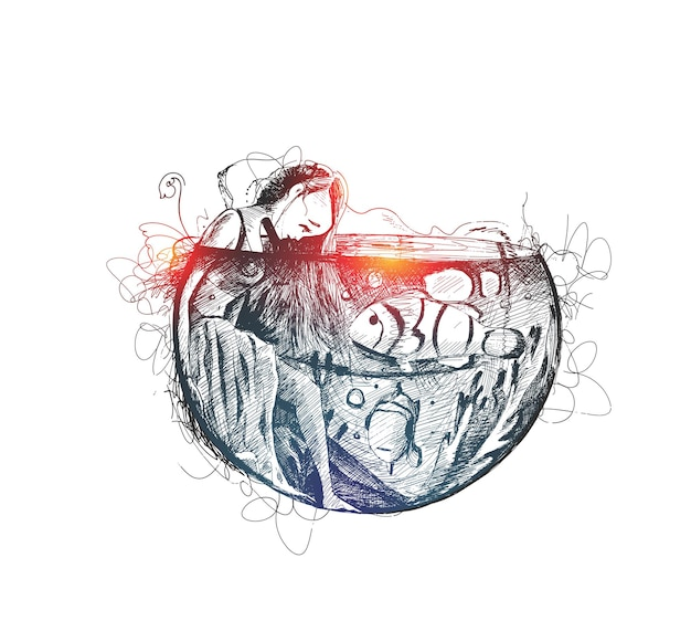 Belle fille magique sous l'eau avec des poissons hand drawn sketch vector illustration