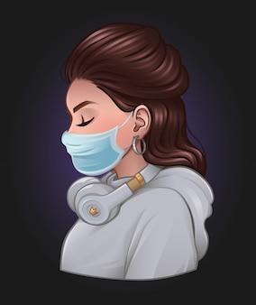 Belle fille avec masque médical et casque