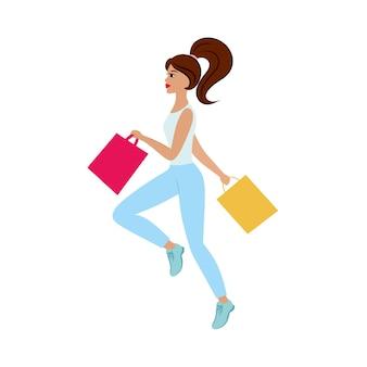 Une belle fille mince court au magasin avec des sacs à provisions pour des remises. promotion, meilleures offres. illustration publicitaire pour un magasin de vêtements, de cosmétiques et de chaussures. illustrations plates vectorielles