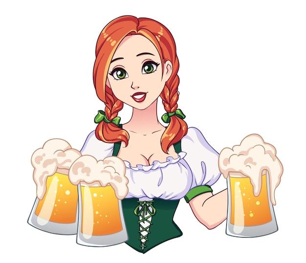 Belle fille avec des nattes rouges et de grands yeux verts tenant des chopes à bière.