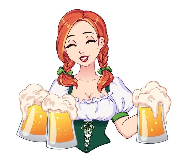 Belle fille avec des nattes rouges et les yeux fermés tenant des chopes à bière.