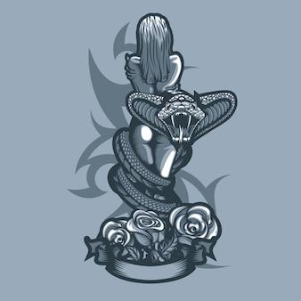 Belle fille nue dans les bras d'un serpent
