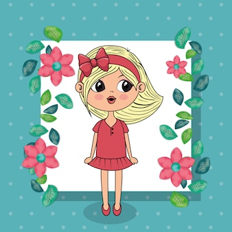 Belle fille avec personnage floral kawaii