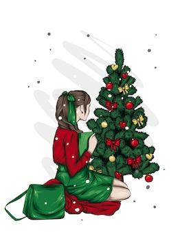 Belle fille près de l'arbre de noël. illustration vectorielle.