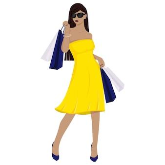 Belle fille en robe fait du shopping. la fille aux sacs. à la mode. illustration vectorielle, style cartoon. isolé sur fond blanc.