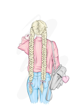 Belle fille avec un sac à dos élégant, en jeans.