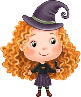 Belle fille de sorcière aux cheveux roux bouclés tenant un corbeau dans ses mains illustration d'halloween