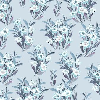 Belle fleur blanche et bleue avec motif de feuilles
