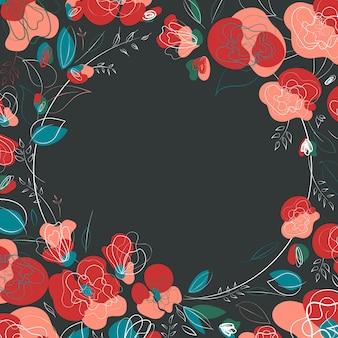 Belle fleur botanique. conception de millefleur de cadre saisonnier de beauté.