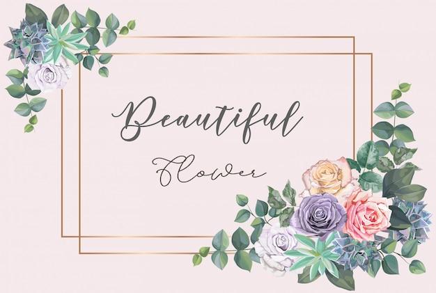 Belle fleur et cadre doré
