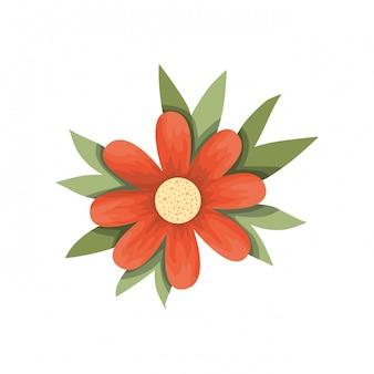 Belle fleur avec icône isolé leafs