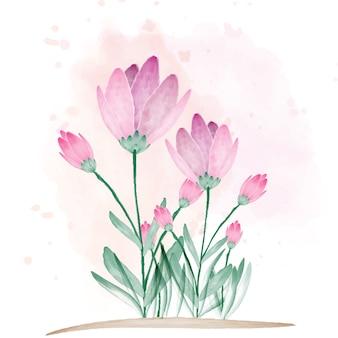 Belle fleur avec pinceau de couleur