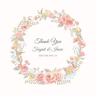 Belle fleur rose et illustration peinte numérique de feuille botanique pour la carte de voeux de conception d'invitation de mariage d'amour ou d'arrangement.