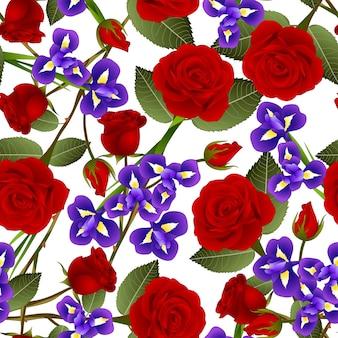 Belle fleur de rose rouge et iris sur fond blanc.