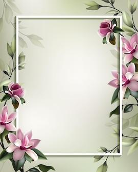 Belle flore encadrant avec espace copie