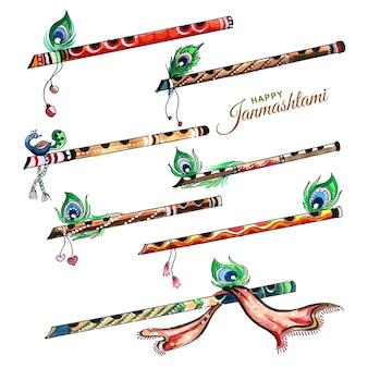 Belle flûte avec décor de plumes de paon