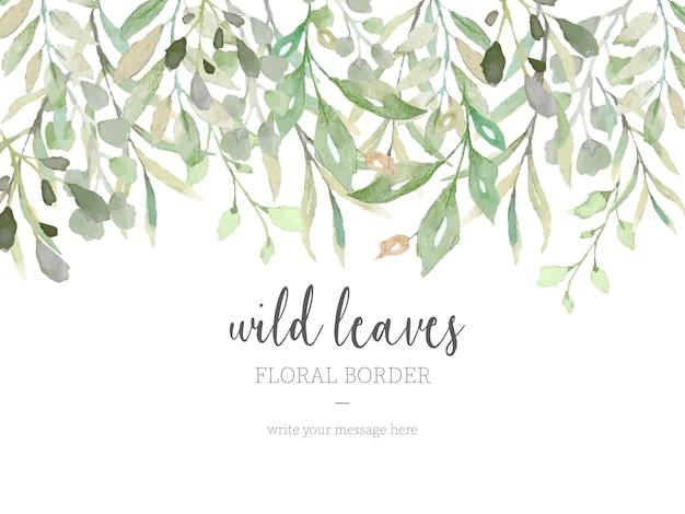 Belle frontière avec des feuilles sauvages