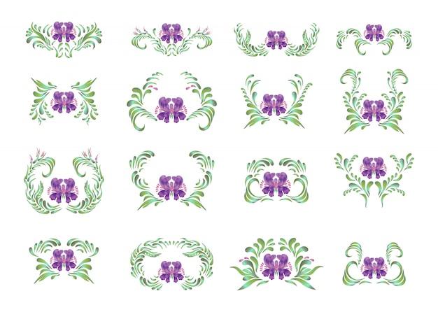Belle frontière avec des fleurs dans un style vintage