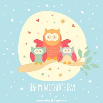 Belle hiboux carte de fête des mères