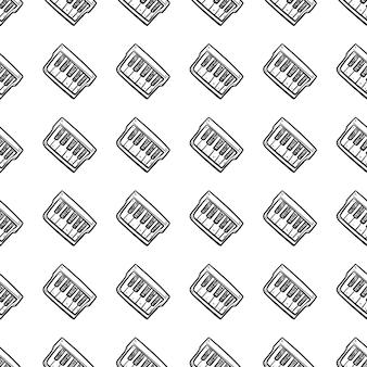 Belle icône de piano de mode modèle sans couture dessinés à la main. croquis noir dessiné à la main. signe / symbole / griffonnage. isolé sur fond blanc. conception plate. illustration vectorielle.