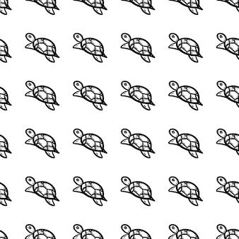 Belle icône de tortue de modèle sans couture de mode dessiné à la main. croquis noir dessiné à la main. signe / symbole / griffonnage. isolé sur fond blanc. conception plate. illustration vectorielle.