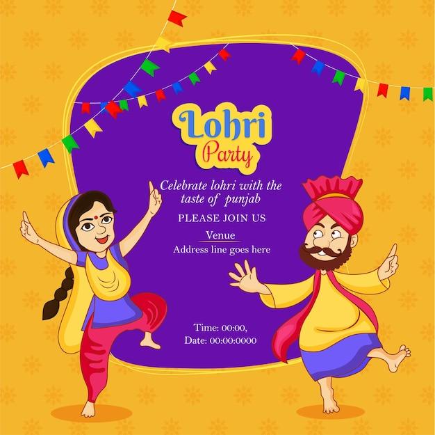 Belle illustration abstraite du festival punjabi joyeuses fêtes de lohri