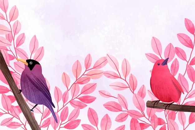 Belle illustration aquarelle d'oiseaux assis sur des branches