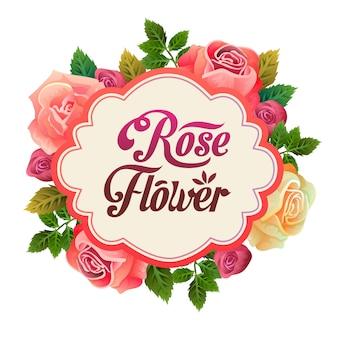 Belle illustration de l'arrangement floral fleur rose