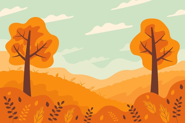 Belle illustration d'automne d'un paysage