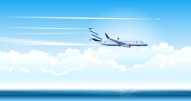 Belle illustration d'avion au-dessus de la mer