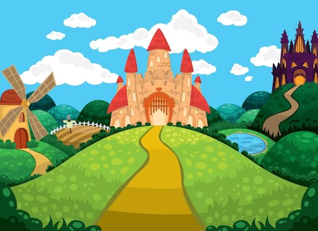 Belle illustration avec des châteaux, un étang, un moulin et des champs.