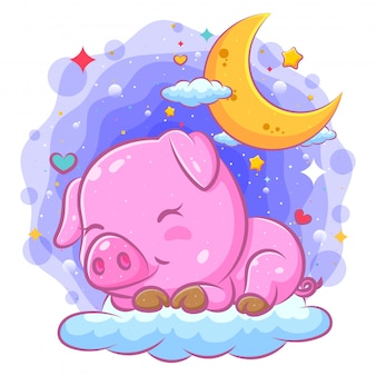 Belle illustration de cochon dort sur les nuages de l'illustration