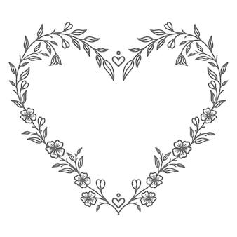 Belle illustration de coeur floral saint valentin