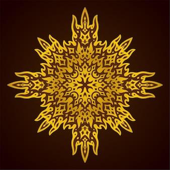 Belle illustration colorée avec motif abstrait doré brillant sur fond violet