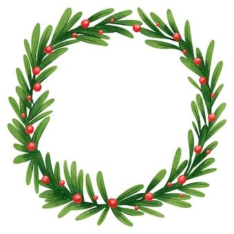 Une belle illustration d'une couronne du nouvel an faite de brindilles vertes douces et de feuilles de houx ou d'un arbre de noël aux fruits rouges