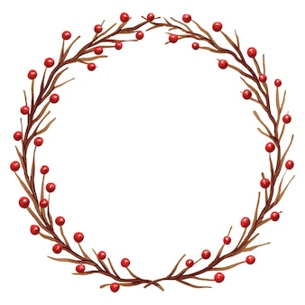 Belle illustration d'une couronne de noël faite de branches brunes et de baies rouges