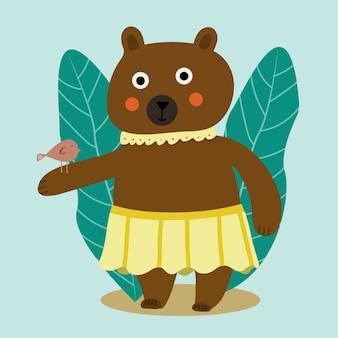 Belle illustration de dessin animé avec ours de dessin animé coloré avec oiseau